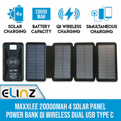 AU81 • Buy Maxxlee 20000mAh 4 Solar Power Bank Qi Wireless Battery Charger Dual USB Type C