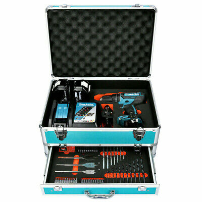 Makita DHP482 18V Combi Drill + 2 X 5Ah Batteries & Charger With 70pc Acc. Set • 242£