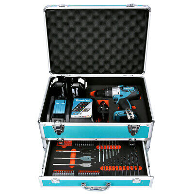 Makita DHP481 18V Combi Drill + 2 X 5Ah Batteries & Charger With 70pc Acc. Set • 350.50£
