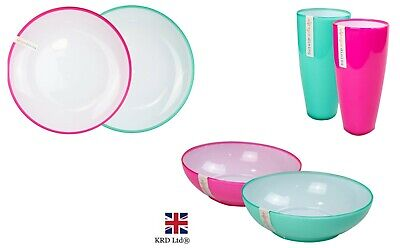 £6.50 • Buy Picnic Dinner Set Plates Bowls Glass Plastic Outdoor Party Tableware Reusable UK