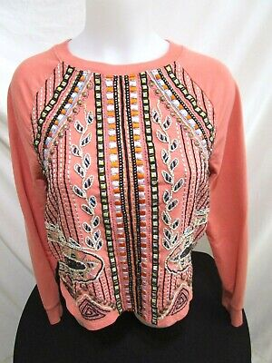$ CDN33.98 • Buy Anthropologie AKEMI + KIN Pink Embroidered Beaded Sweatshirt Women Size S