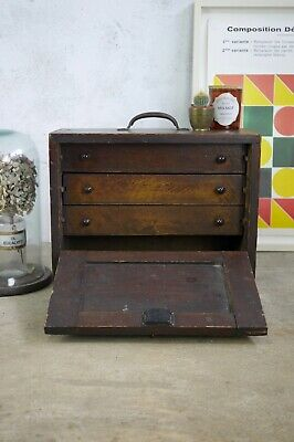 Vintage Engineers Watch Makers Tool Cabinet 3 Drawers Chest Collectors Key • 245£
