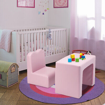 2in1 Kids Table & Sofa Chair Set Toddler Seat Armchair Desk Children Lounge Pink • 37.29£