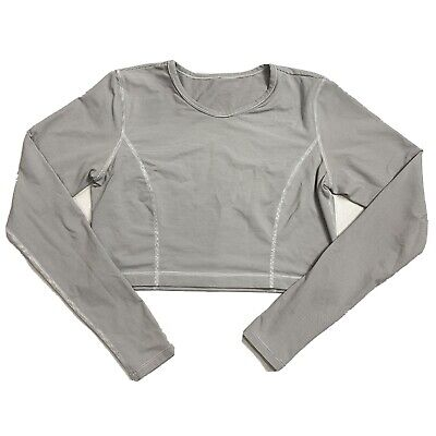 $ CDN66.35 • Buy Lululemon Long Sleeve Crop Top Shirt Gray White Striped Size 4 (No Tag)