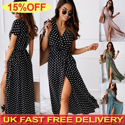 UK Womens Polka Dot Maxi Wrap Dress Ladies Summer Holiday V Neck Party Prom Gown • 10.99£