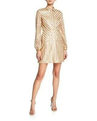 $12 • Buy NWT Aidan Mattox Sequin Stripe Cocktail Dress - Ivory And Gold - Sz 4 - $275