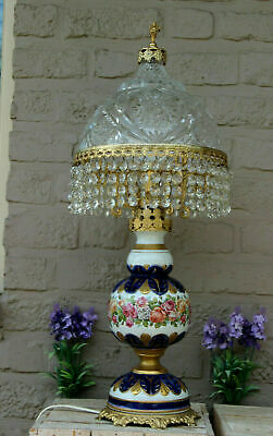 $ CDN1289.81 • Buy HUGE French Porcelain Floral Crystal Glass Carved Top Putti Figurine Lamp