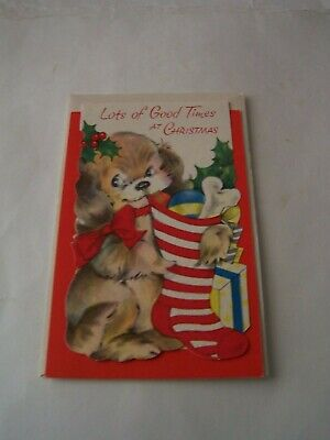 $ CDN6.99 • Buy Vintage Unused Christmas Card - Little Dog With Stocking - Lots Of Good Times