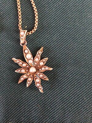 Pretty Edwardian Rolled Gold & Seed Pearl Starburst Pendant On RG Chain & Clasp • 85£