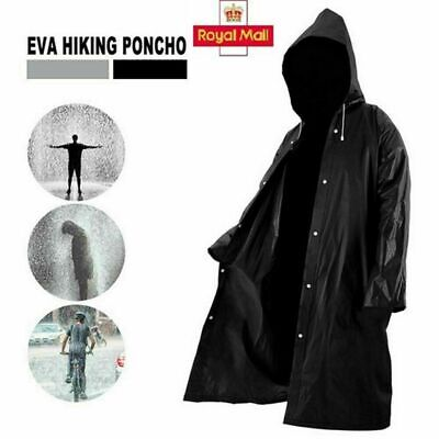 £3.99 • Buy Waterproof  Rain Coat Jacket With Button Mens And  Womens Long Hooded Raincoat