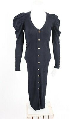 $42.49 • Buy Zara Womens Knit Ribbed Dress Small Navy Blue Puff Sleeve Buttons 3519/102 NWT