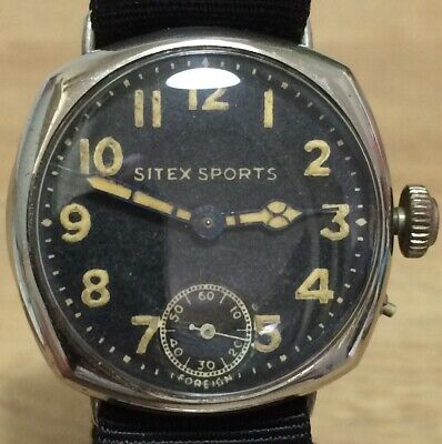 GENTS C1920s  SITEX SPORTS  Trench Type Watch LARGE 35mm (pin Set) SUPERB • 165£