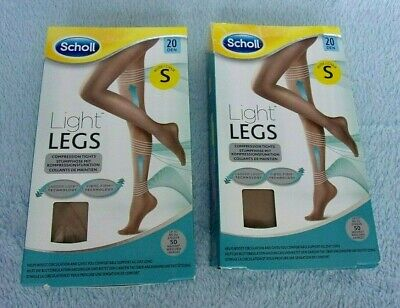 2 Packs/pairs SCHOLL Light Legs COMPRESSION TIGHTS Nude SMALL 20 Denier BNIP • 4.99£
