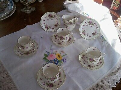 £49.99 • Buy Queens Rosina Fine Bone China Violets  4 Teacups And 4 Saucers Milk And Sugar