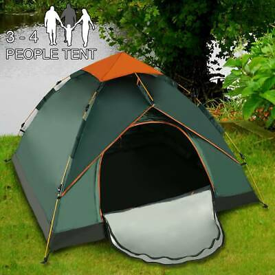 AU64.63 • Buy 3-4 Man Person Family Tent Double Layer Camping Festival Waterproof Shelter