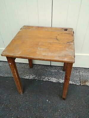 Old Vintage Single Wooden School Desk • 15£