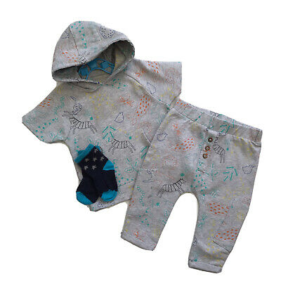 Baby Boy Clothes 3-6 Months Safari Animal Print Tracksuit Hoodie Top & Bottoms • 1.85£