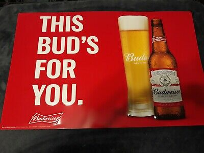 $ CDN66.06 • Buy Budweiser Metal Beer Sign Brand New  This Bud's For You