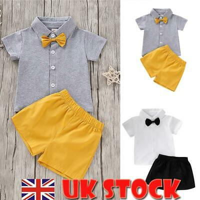 Toddler Kids Baby Boys Bow Tie Tops T-shirt + Shorts Pants 2PCS Outfits Clothes • 7.39£