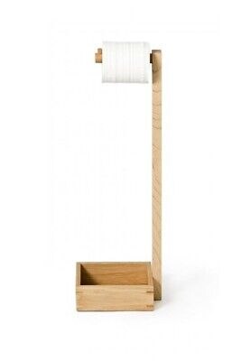 £9.95 • Buy Free Standing Bamboo Wooden Toilet Paper Roll Holder Tissue  Storage Stand NEW