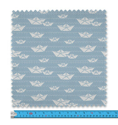 Childrens Paper Boats Blue Fabric 21 Variations Price Per Metre LSFABRIC089 • 9.99£