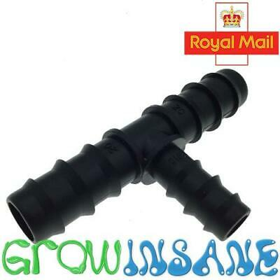 19mm To 13mm Reducing Tee Triple Barb For Irrigation Pipe LDPE Gardening Pond • 3.45£
