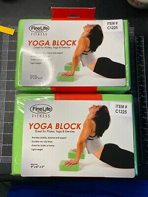 $ CDN19.76 • Buy YOGA Foam Exercise Blocks (Bricks) - 2 Pieces From FineLife. Green With Graphic.