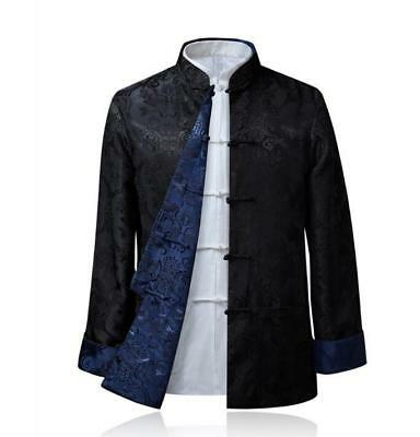 $63.59 • Buy Chinese Style Mens Real Silk Tang Suit Jacket Casual Long Sleeve Jacket Outwears