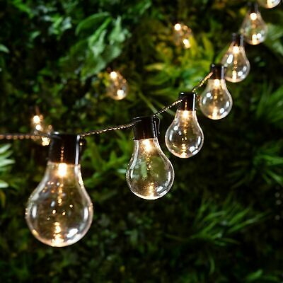 Retro Solar String Lights Outdoor Garden LED Festoon Party Globe 10/20 Bulbs  • 16.99£