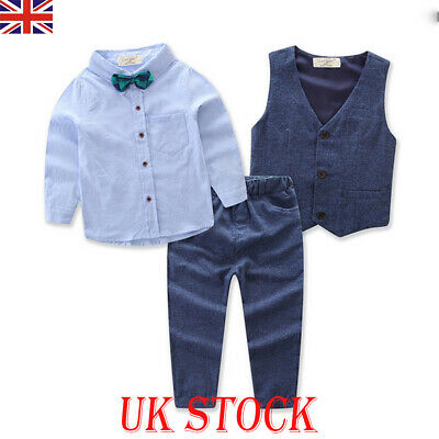 UK Kids Toddler Boy Suits Bow Tie Shirt Wedding Suit Page Baby Formal Party 2-7Y • 9.19£