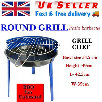 Grill Chef Patio Barbecue BBQ Grill Small Portable Adjustable Height  • 20.99£