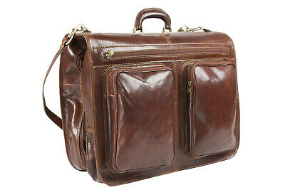 Genuine Italian Leather Suiter Garment Bag Cabin Suit Carrier Hand Luggage Brown • 339.99£