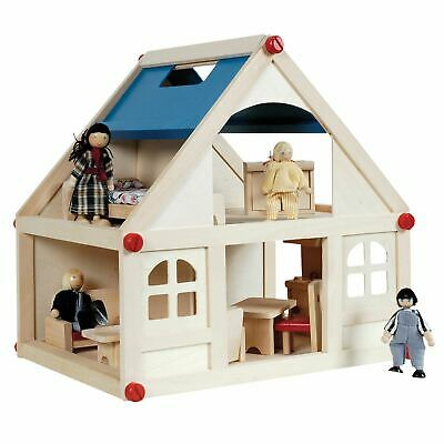 £22.90 • Buy Wooden Dolls House With Furniture And Doll Family Kids Chidrens Fun Play Set New
