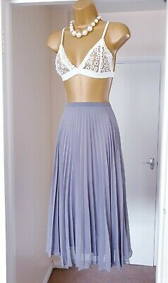 NEXT Grey Summer Holiday Tea Party Wide Pleated Midi Skirt - Size 10 • 0.99£