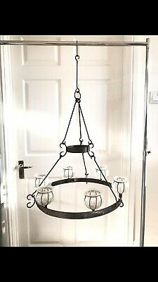 RARE Antique Cast Iron Chandelier Candles Glass Flower Cups GLOBES LARGE • 350£