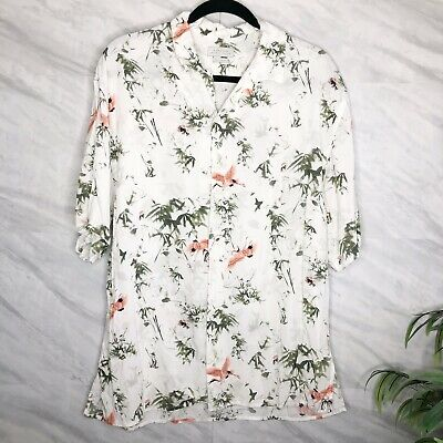 $22 • Buy Zara Man Button Down Flamingo Dress Shirt Relaxed Fit Size Large