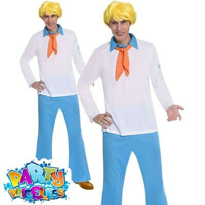 Adult Scooby Doo Fred Costume Men Cartoon Character Book Week Fancy Dress Outfit • 26.99£