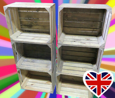 APPLE CRATES - CHOOSE YOUR QTY - RUSTIC & VINTAGE Wooden Boxes - FREE Delivery • 16.50£