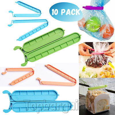 10 Bag Clips Reusable Tie Plastic Storage Sealing Food Freezer Fridge Fresh Pack • 2.89£