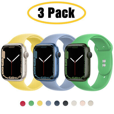 $ CDN12.71 • Buy For Apple Watch 6 5 4 3 SE 38/40/42/44mm Silicone IWatch Band Sport Strap 3 PACK