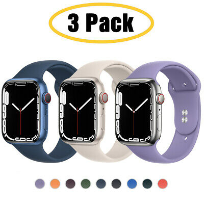 $ CDN12.60 • Buy For Apple Watch 6 5 4 3 SE 38/40/42/44mm Silicone IWatch Band Sport Strap 3 PACK