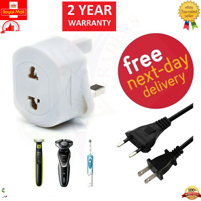 2 Pin To 3 Pin Shaver Adapter UK Plug Socket Converter European SHAVER ADAPTER • 3.49£