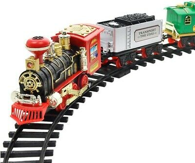 Classic R/C Train Set Railway Toy Carriage Real Steam Smoke Horn Sound LightsUK • 16.99£