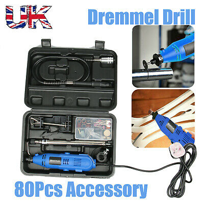 80PC Rotary Multi Tool Hobby Precision Drill + Dremel Type Accessories UK Seller • 26.90£