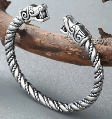 Adjustable Norse Viking Wolf Head Silver Open Bracelet Dragon Fenrir Bangle F9 • 5.95£