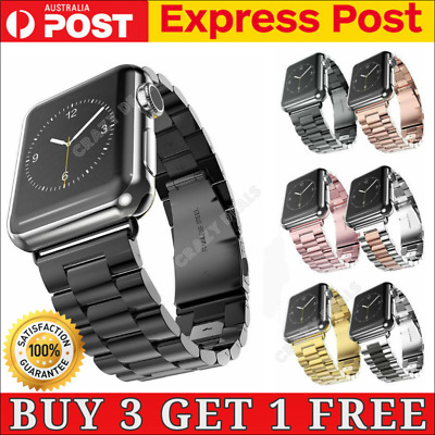 AU12.99 • Buy Stainless Steel Link Bracelet Strap Watch Band For Apple Watch IWatch 1 2 3