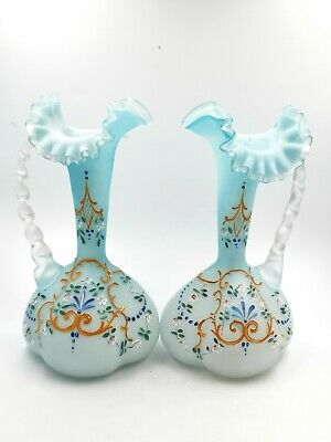 Mint Antique Victorian Pair Of Hand Made Blue Encased Enamelled Glass Vases  • 35£