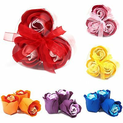 £4.99 • Buy Luxury Soap Flowers - 3 In A Heart ❤️ Shaped Gift Box - Roses Soaps Set Scented