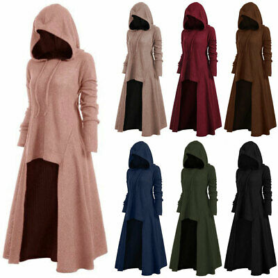 Women Retro Gothic High Low Hem Cloak Witch Dress Hoodie Pullover Jumper Outwear • 18.04£