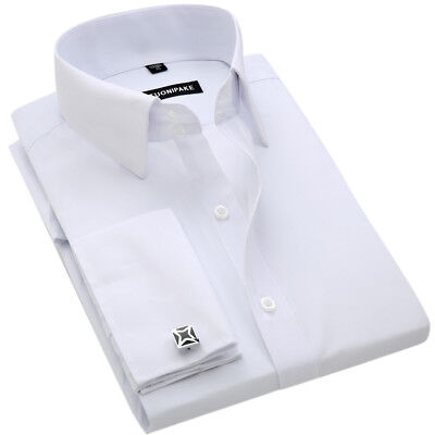 Mens Dress Shirts Long Sleeve French Cuff Formal Business Multicolor Shirts Tops • 14.95£
